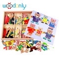 Wooden Magnetic Bear ChangingClothes Puzzle Good Gifts for Funny Educational Kids Toys  oyuncak