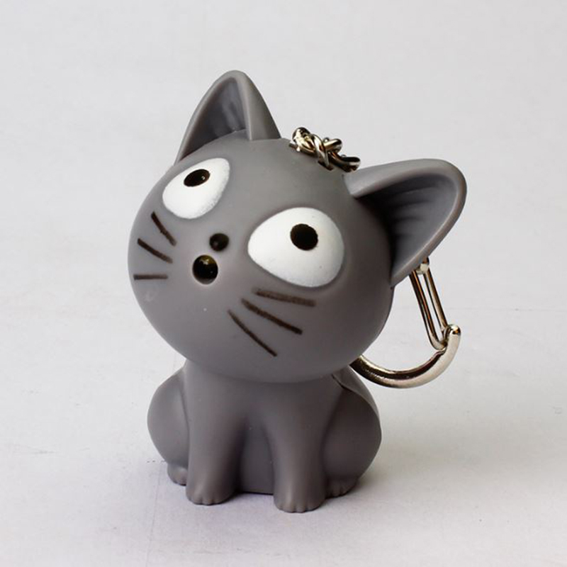 1 Pc Popular Cheese Cat Luminous Keychain Chi's Cat Luminous Keyring Sound Light LED Flashlight Keyring Luminous Toy