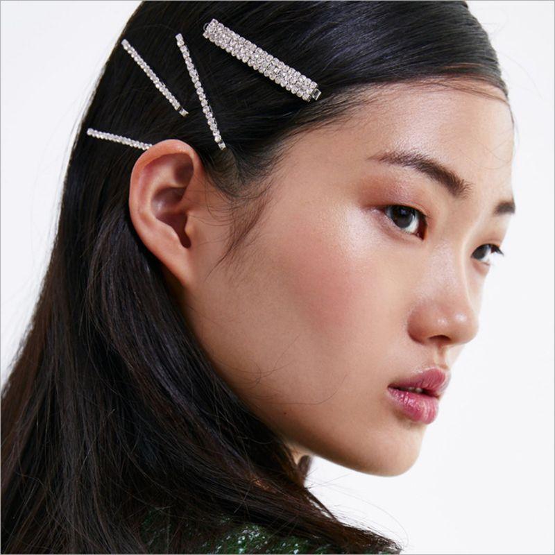 Geometric Multi Row Glitter Rhinestone One Word Hairpin Women Minimalist Hair Styling Clip Acrylic Metal Alloy Barrette 5Pcs Set in Women 39 s Hair Accessories from Apparel Accessories