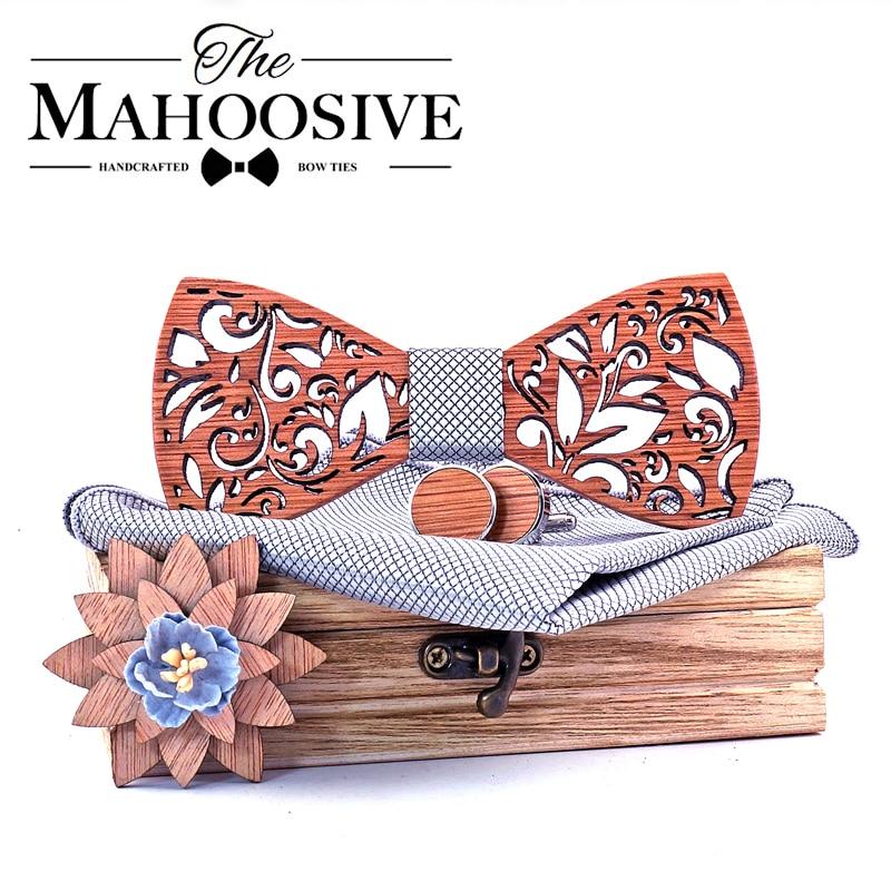 Wood BowTie Handkerchief Set Men's Wooden Bowtie With Cufflinks Floral Design Wood Box Fashion Novelty Men Ties