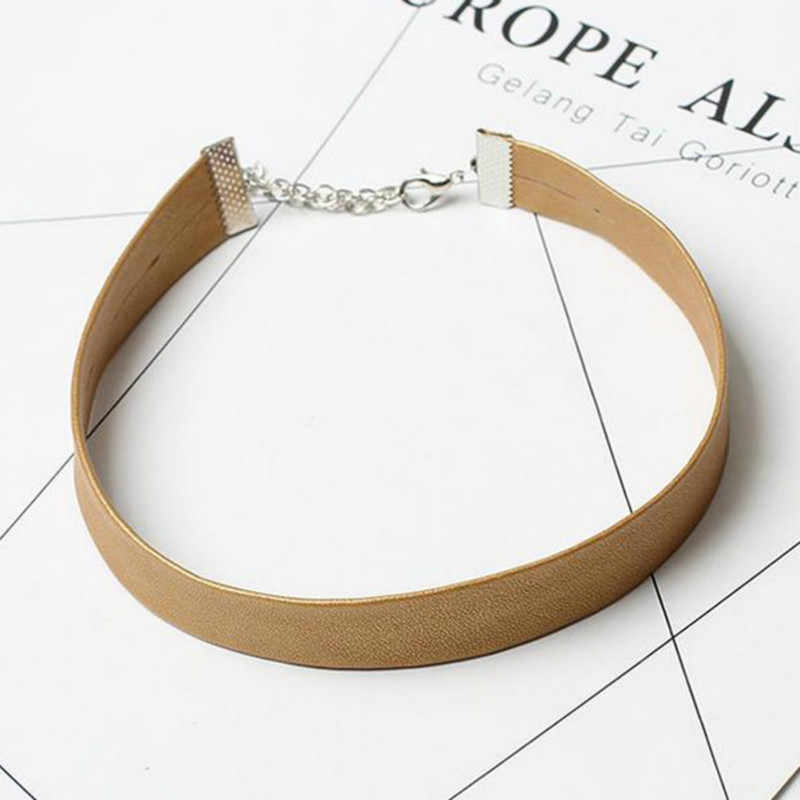 2017 Black Leather Choker Necklace Women Gothic Chokers Necklaces Pink Chocker ketting collares mujer collier ras du cou bijoux