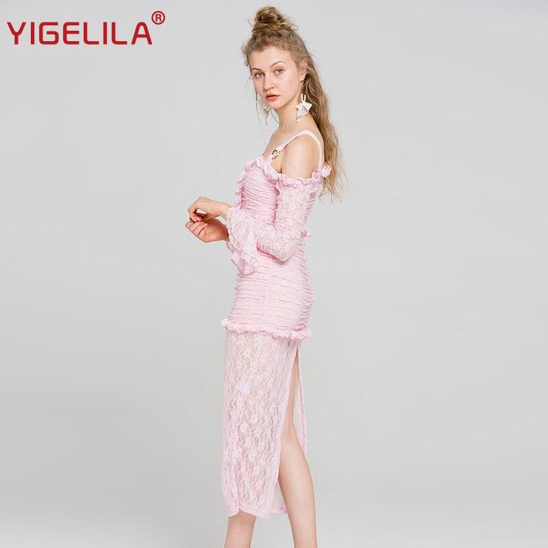¡Novedad de 2019! vestido largo YIGELILA de encaje rosa para mujer, vestido liso de vaina imperial con mangas acampanadas y cuello oblicuo 62990 - 2