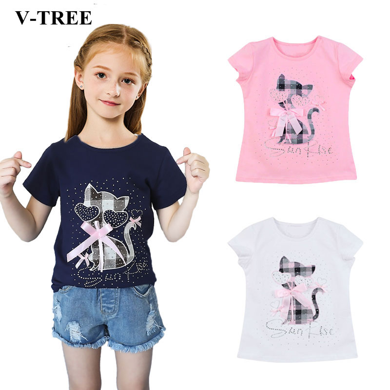 Summer Girls T Shirt Cartoon T-shirt For Girl Diamond Kids Tops 2-8T Children Sweatshirts Baby Tees Outerwear monkids 2017 brand dot vest tops girls t shirt tees cartoon sling baby girl summer wear clothing girls blouse for 1 5y