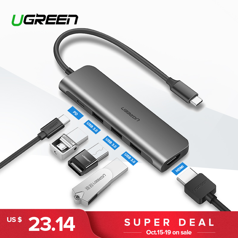 Ugreen USB C HUB USB-C a 3,0 HUB HDMI Thunderbolt 3 adaptador para MacBook Samsung Galaxy S9 Huawei P20 Mate 20 Pro tipo C HUB USB