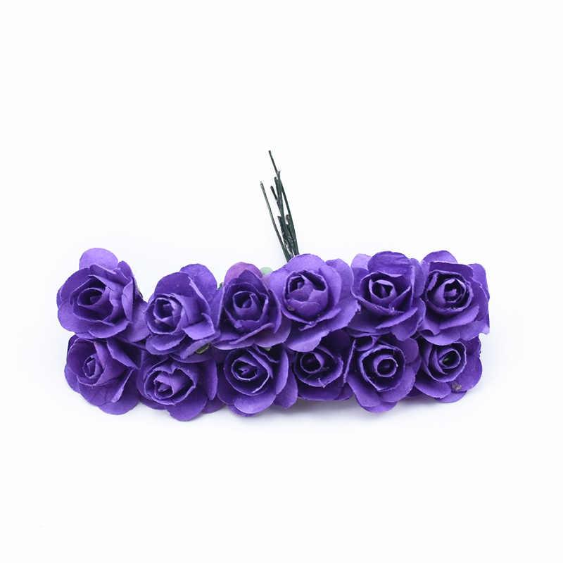 12 قطعة الزخرفية الزهور اكاليل سكرابوكينغ أزهار ورقية عيد الميلاد زينة للمنزل diy الهدايا مربع الزهور الاصطناعية