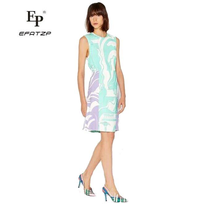 EFATZP nuevo verano de dama de moda de alta calidad tejido stretch slim vestido sin mangas de las mujeres chaleco vestido-in Vestidos from Ropa de mujer    1