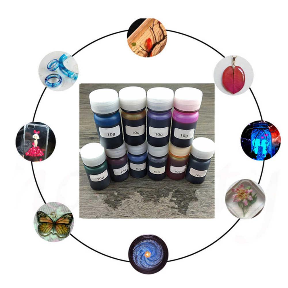 10 Warna 10G Epoxy UV Resin Pewarna Pewarna Resin Pigmen Warna Campuran DIY Kerajinan DIY Buatan Tangan Cepat Kering tidak Beracun Kerajinan