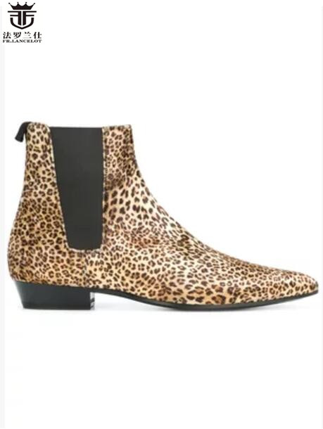 FR.LANCELOT Luxury Leopard print booties Genuine Leather Chelsea Boots print Ankle Boots Mens Fashion Spring Autumn BootsFR.LANCELOT Luxury Leopard print booties Genuine Leather Chelsea Boots print Ankle Boots Mens Fashion Spring Autumn Boots