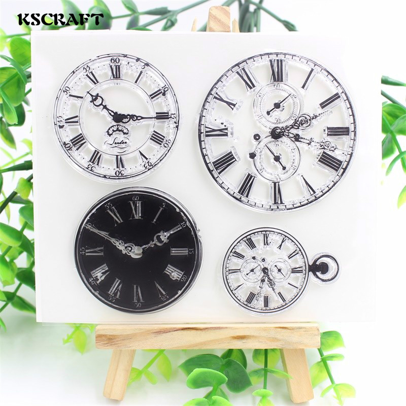 KSCRAFT Clocks Transparent Clear Silicone Stamps for DIY Scrapbooking/Card Making/Kids Christmas Fun Decoration Supplies kscraft butterfly and insects transparent clear silicone stamps for diy scrapbooking card making kids fun decoration supplies