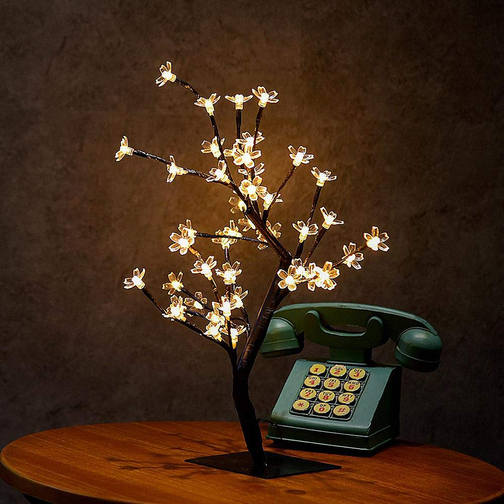 New 24/36/48 Leds Cherry Blossom Decorative Tree Lights Cherry Blossom Desk Top Lamp For Home Festival Party Wedding Christmas