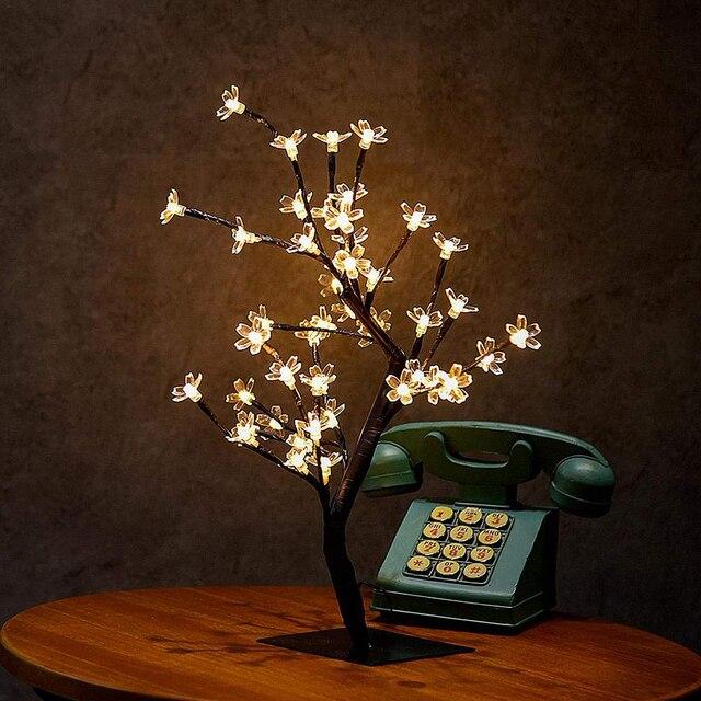 Nouveau 24/36/48 leds cerisier fleur arbre décoratif lumières cerisier fleur ordinateur de bureau lampe pour la maison Festival fête mariage noël