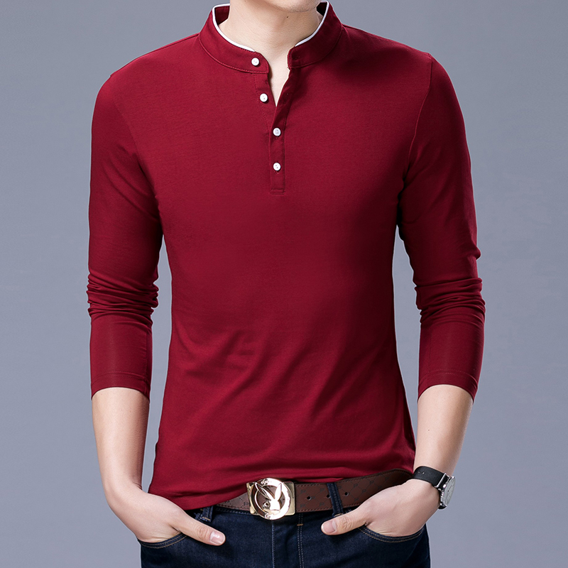 Image 5 - Hot Sell 2019 New Fashion Brand Clothing Polo Shirt Mens Long Sleeve Slim Fit Boys Mandarin Colla Polos Casual Men's Clothing-in Polo from Men's Clothing