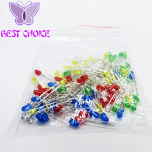 Free shipping 100pcs 3mm LED Light White Yellow Red Green Blue Assorted Kit DIY LEDs Set(China)