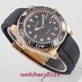 Мужские деловые часы Bliger  черные  с циферблатом 40 мм  с сапфировым стеклом  светящиеся  розовые  золотые  стальные  с резиновым корпусом  авто...