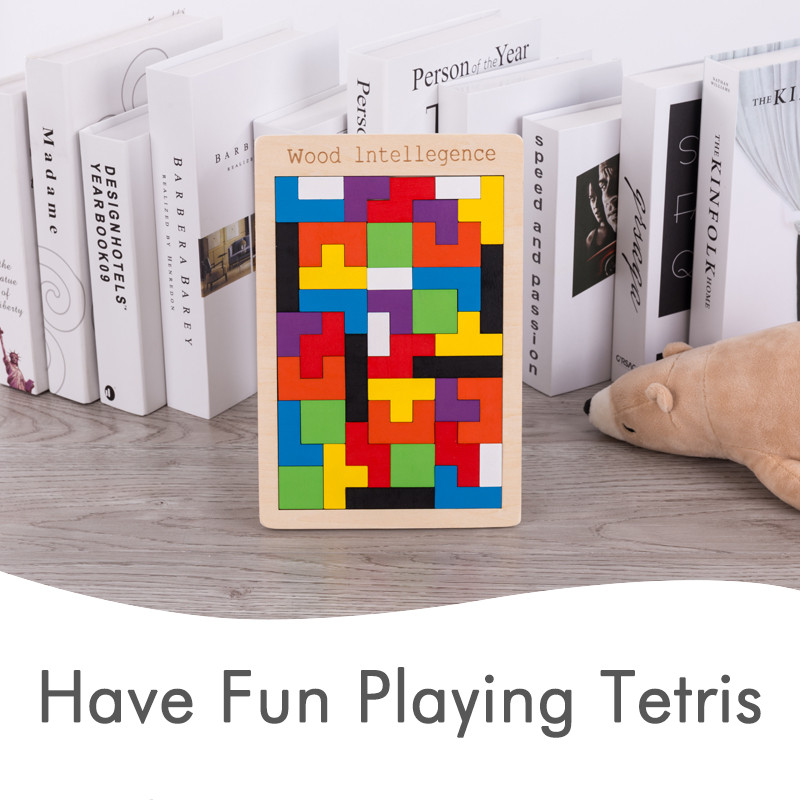 Wooden Tetris Tangram Intelligence Puzzle Children Educational Jigsaw Puzzle Game Toy For Kids PHOOHI in Puzzles from Toys Hobbies