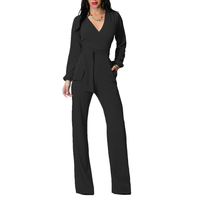 651a55215a0 fashion nova black long sleeve jumpsuit romper women 2018 sexy v neck slim  palazzo pant elegant