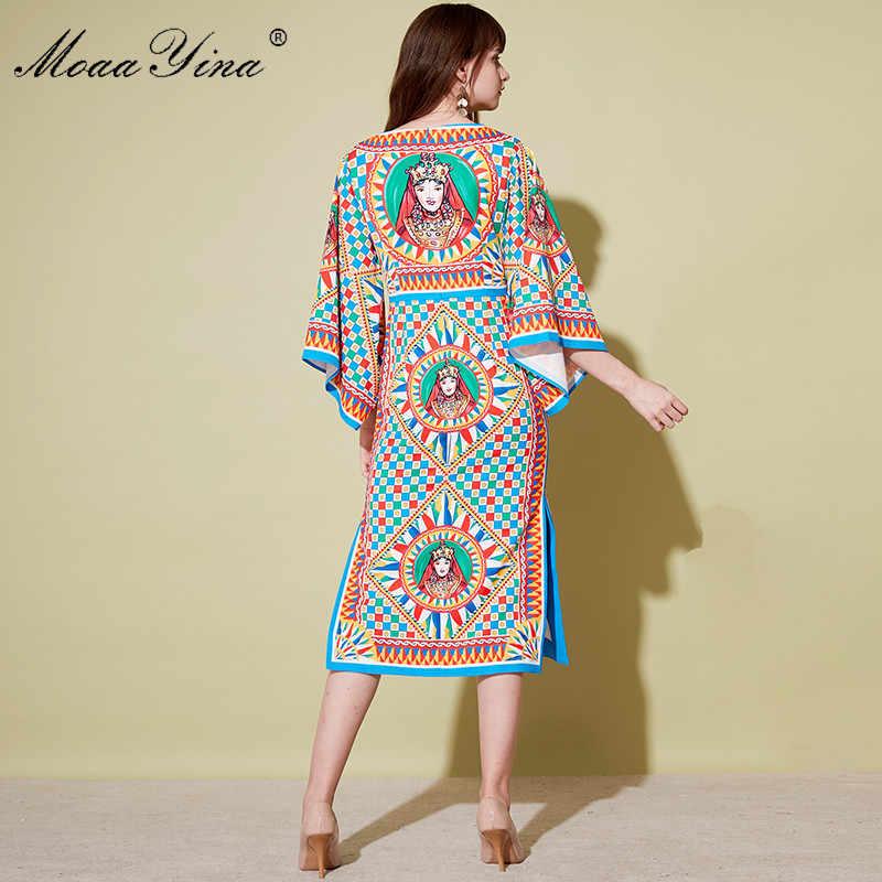 MoaaYina осень дизайнерские подиумные платья Для женщин в форме крыла летучей мыши рукав клетчатый узор печати Винтаж высокое Bodycon платье с вырезом, Vestido