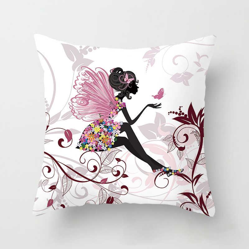 وسادة زهرة الوردي الأزهار الوسائد الزخرفية المخدة غطاء وسادة بوليستر رمي وسادة أريكة الديكور Pillowcover 40838