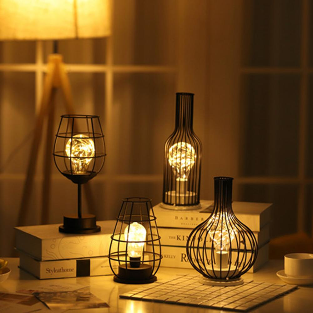 Retro Iron Winebottle Art Minimalist Hollow Table Lamp Copper Wire Night Light Hotel Home Decoration Desk Lamp Beside Light
