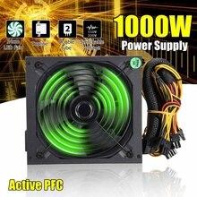110~ 220 В 1000 Вт PC источник питания 140 мм светодиодный вентилятор 24 Pin активный PFC PCI SATA ATX 12V компьютерный источник питания
