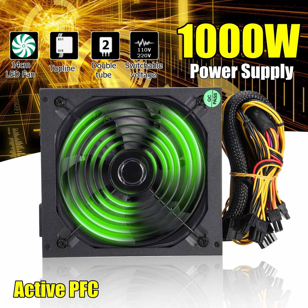 110 ~ 220 V 1000 W PC alimentation 140mm ventilateur LED 24 broches actif PFC PCI SATA ATX 12 V ordinateur alimentation