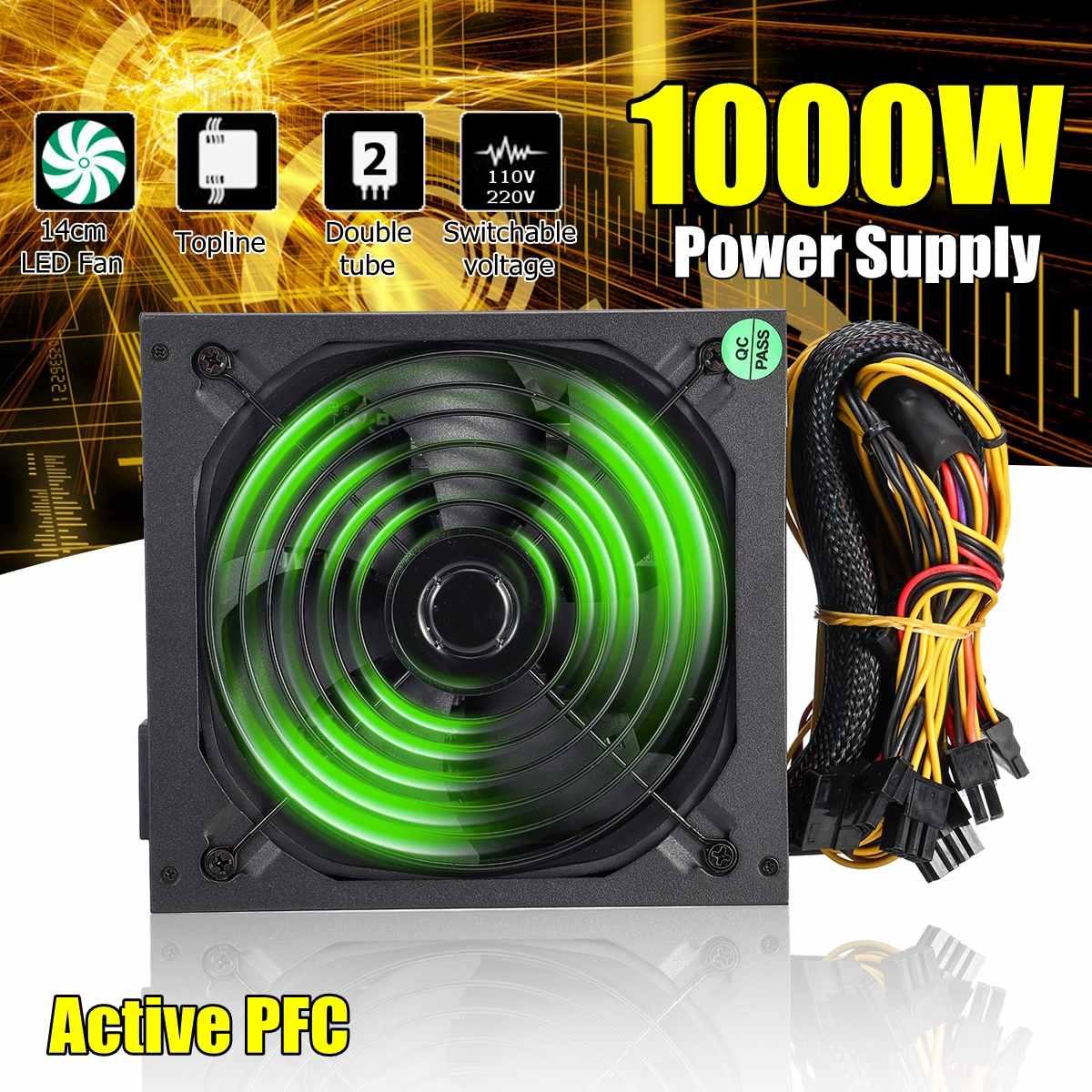 110 ~ 220 V 1000 W PC alimentation 140mm ventilateur LED 24 broches actif PFC PCI SATA ATX 12 V ordinateur alimentation