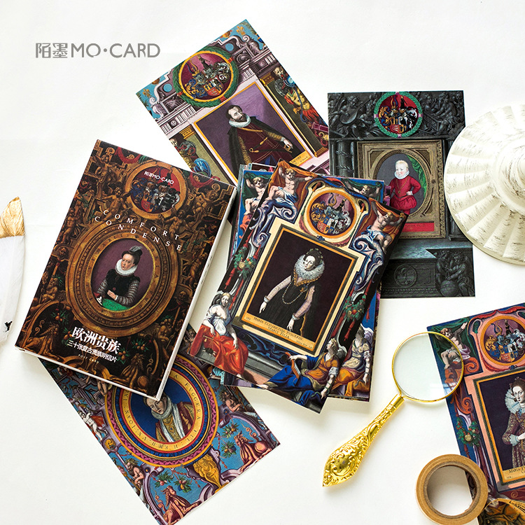 30 Sheets/Set Retro European Nobles Postcard/Greeting Card/Message Card/Birthday Letter Envelope Gift Card