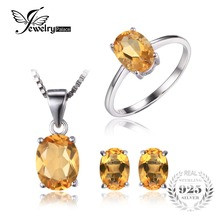 Jewelrypalace 4.2 ct natural citrino anillo pendientes collar colgante de joyería fija s925 joyería de plata esterlina para la joyería de las mujeres