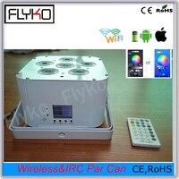 Free shipping 1pc Phone App control wireless DMX battery powered led flat par light 6pcs 18w 6in1 led rgbwa uv par light