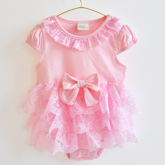 Princess Pink Baby Ruffle Romper Infant Jumpsuit Lace Flower Headband and Satin Shoes Toddler Newborn Shower Gifts XLC004