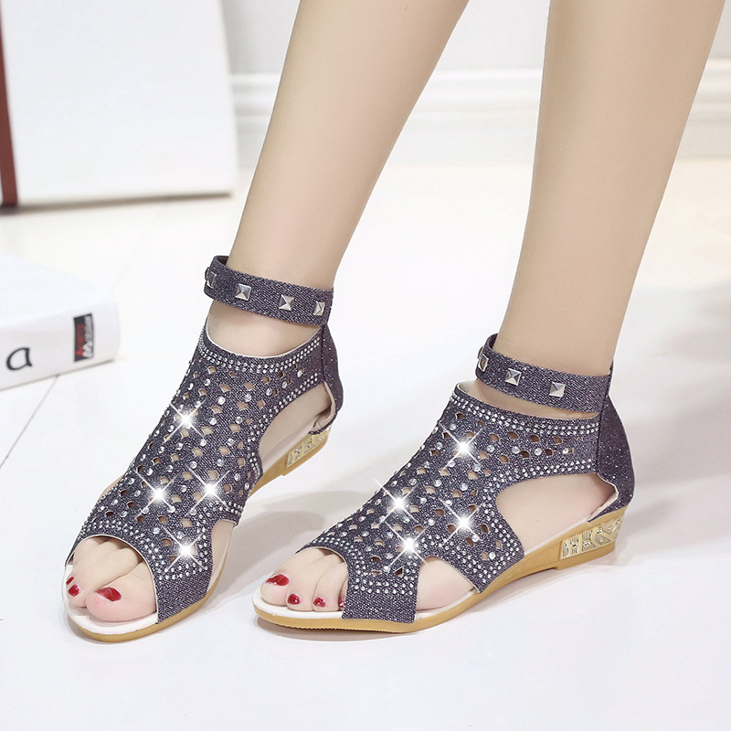 Los De beige Boca golden Zapatos Tacones Roma Cuña Huecos Señoras Pescados Verano 2018 Sandalias Primavera Correa Mujer Moda Black Hfgw7