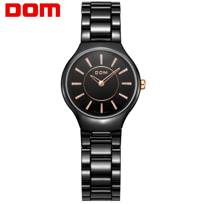 DOM Watch Women top brand luxury Fashion Casual quartz ceramic watches Lady Ultra Thin wristwatches Girl Dress clock T-520 fashion hair queen 27 100s 0 5 g s 100% 50 g micro ring loop hair