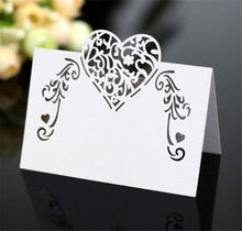 Laser Cut Place Cards With Hearts Flowers Party Table Decorations Seating Multi Colors