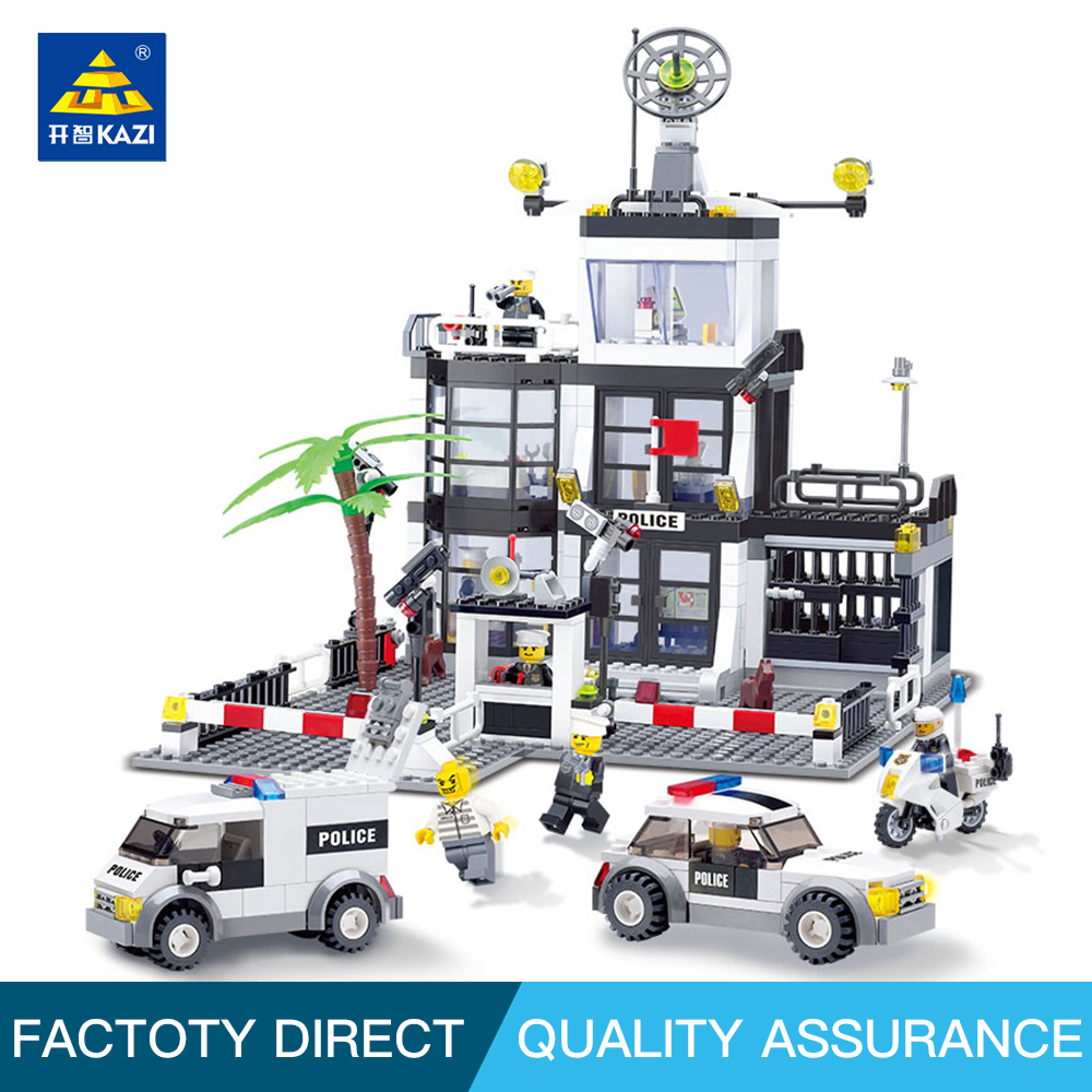 Kazi Educational Toys For Children Building Bricks Police Station Bricks Prison Van Building Blocks Sets Creative Handmade Toys куртка мужская geox цвет темно синий m8420nt2414f4386 размер 46