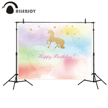 Allenjoy Lovely kids birthday party backdrop golden Unicorn fantastic girl pink watercolor Glitter glamour Sparkle photocall