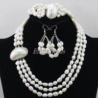 Livraison gratuite 3 linhas naturel riz perles d'eau douce collier boucles d'oreilles Bracelet serti de mariée mariage ensemble de bijoux FP069