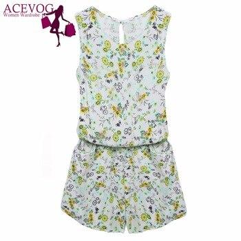 ACEVOG Summer Jumpsuit 2019 Women Playsuit Jumpsuit Casual Sexy Lady Sleeveless Backless Elastic Waist Print Mini Romper overall 3