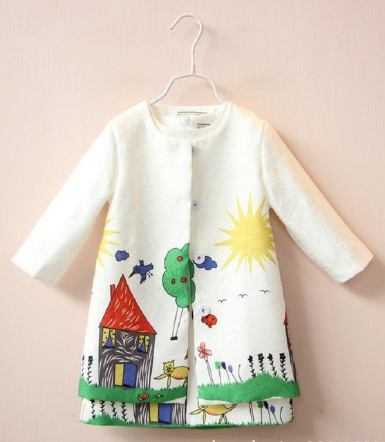 Retail 2016 Spring and autumn milan fashion children's Dress Big Cartoons graffiticartoon 2pcs (Jacket+Dress) High quality