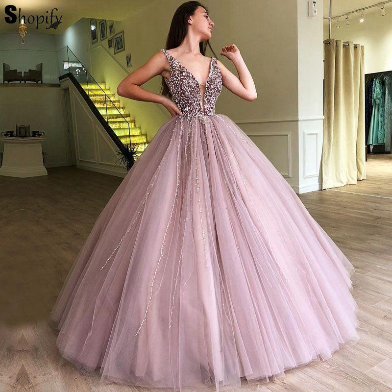 Romatic Длинные Quinceanera 2018 бальное платье пышные тяжелые бисером жемчуг Арабский стиль Лаванда сладкий 16 Бальные платья