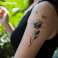 Temporary Tattoos Gold Flash Metallic Arm Shoulder Sticker Black Henna Women Jewelry Waterproof Gorgeous Peacock Feather Rose