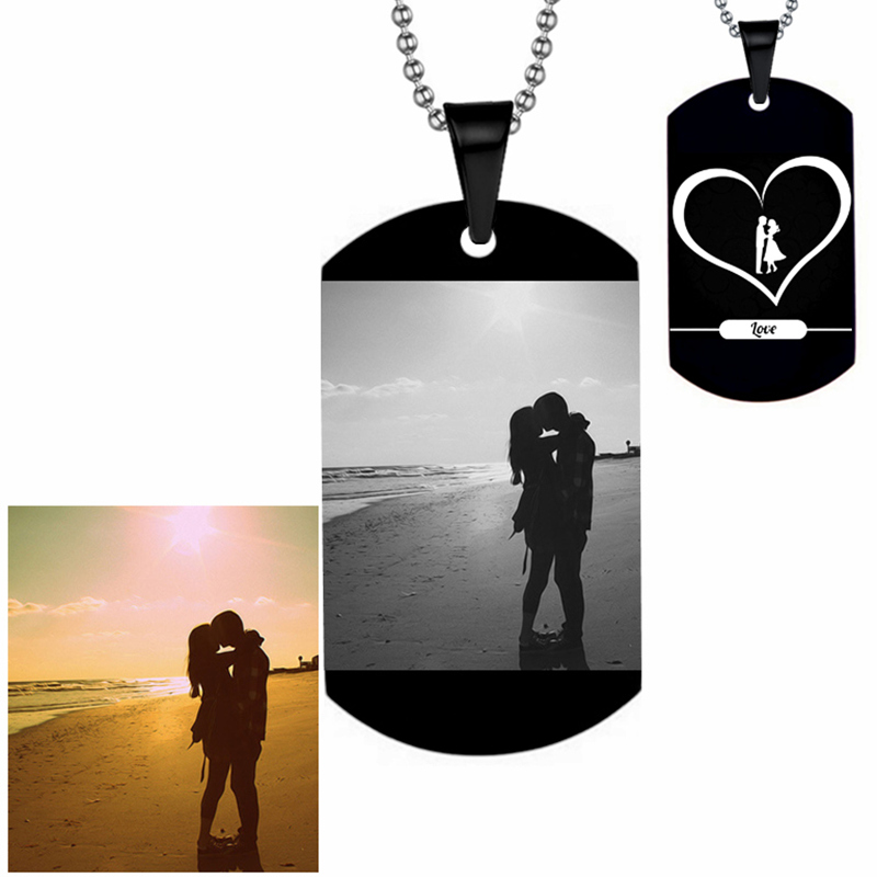 Custom Dog Tag Free Engrave Photo Pendant Necklace Hiphop Man Stainless Steel DIY Dog Tags Pendants