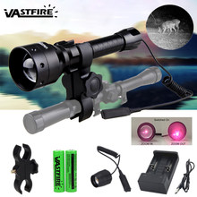 Tactical IR Flashlight 850nm Infrared Zoomable Rail Mount Armed Hunting Pistol Weapon Lamp 400 Yard Red Laser Airsoft Guns Light(China)