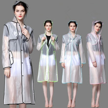 EVA Fashion Cloak Transparent Raincoat  poncho Women Men waterproof Long Rain Coat Ponchos Jacket Chubasqueros Impermeables