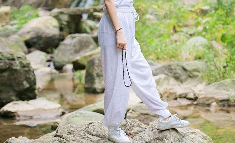9色ユニセックストップ品質コットン&リネン太極拳太極拳パンツ春&夏築く瞑想ズボンカンフー武道ブルマ