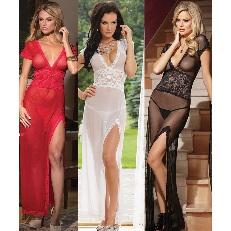 Red/Black/White Sexy Lingerie Transparent Conjoined Long Dress Suit <font><b>XXL</b></font> Women Night Dress New <font><b>Sex</b></font> Products Promotion Costumes image