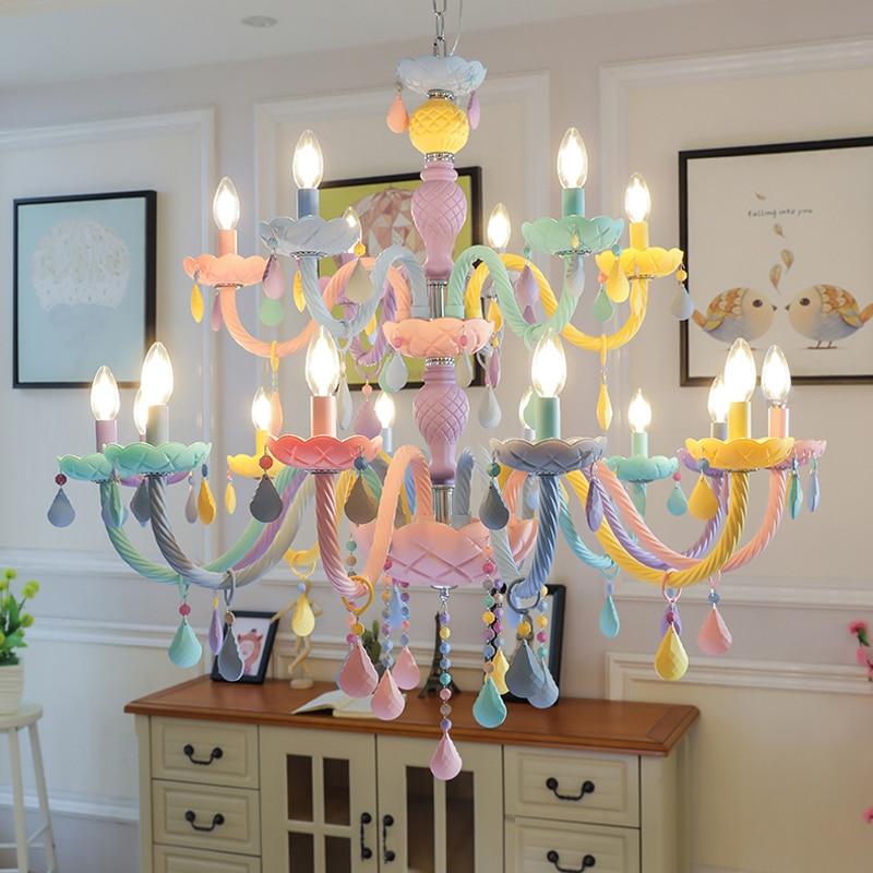 Hôtel Boutique Creative Lustres Princesse Chambre Cristal Lampe Américain Salon Restaurant Éclairage Couleur Lustres En Cristal