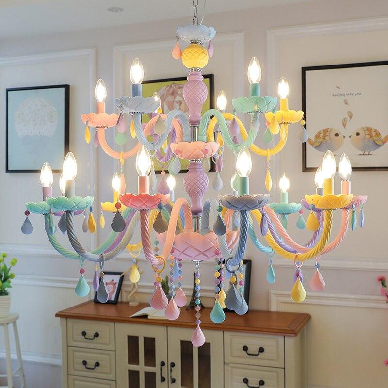 Negozio dell'hotel Lampadari Creativi Principessa Camera Da Letto Lampada di Cristallo Americano Soggiorno Ristorante Lampadari di Cristallo di Colore di Illuminazione
