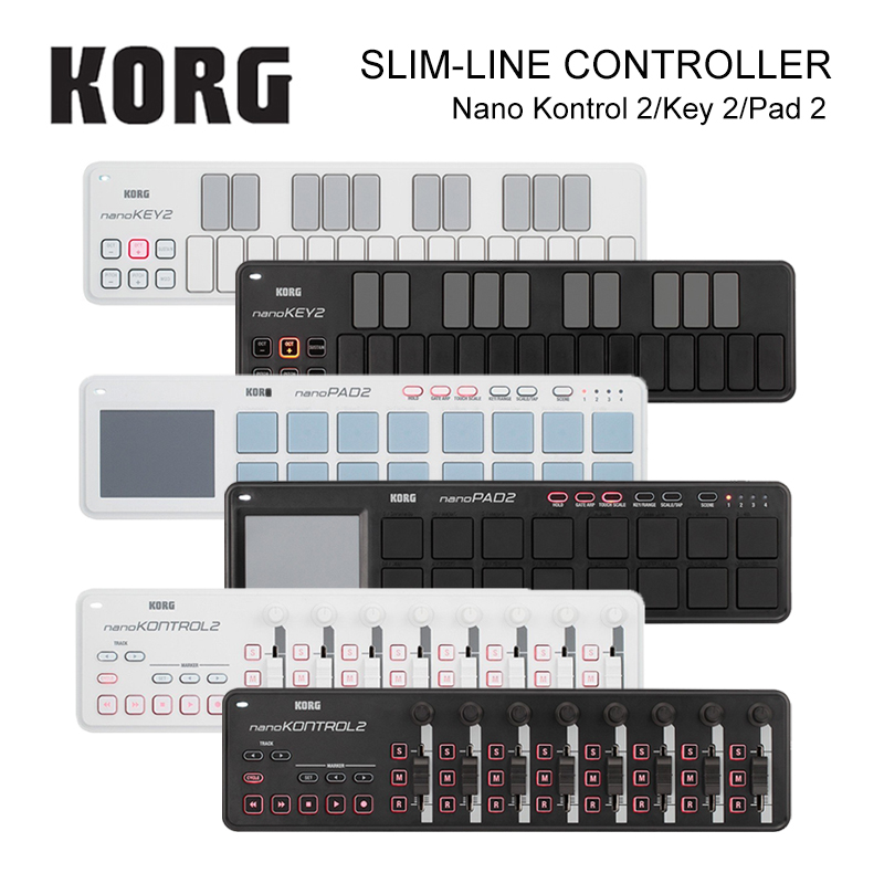 Korg nanoKEY2 nanoPAD2 nanoKONTROL2 Slim-Line USB MIDI Pads 16 Tripper Pads with USB Cable midi контроллер korg nanopad2 white