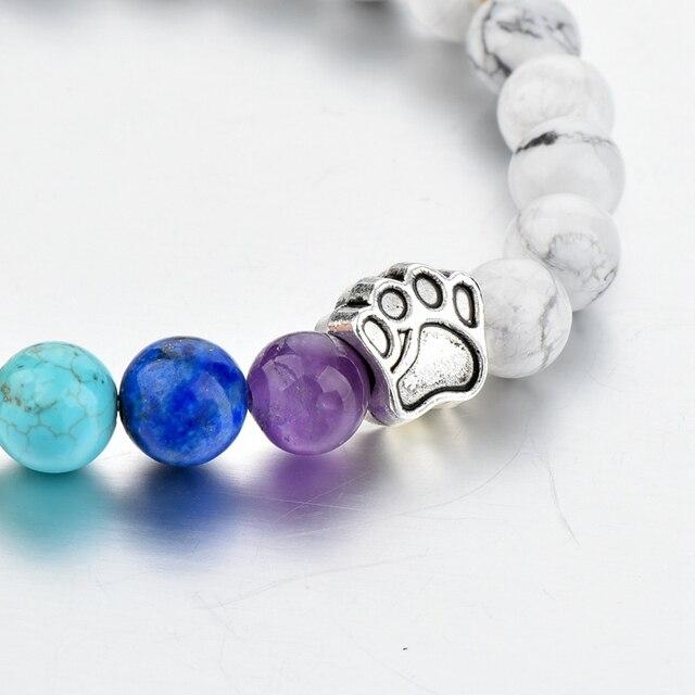 браслет для йоги chicvie лапа натуральный камень бусина эластичный фотография