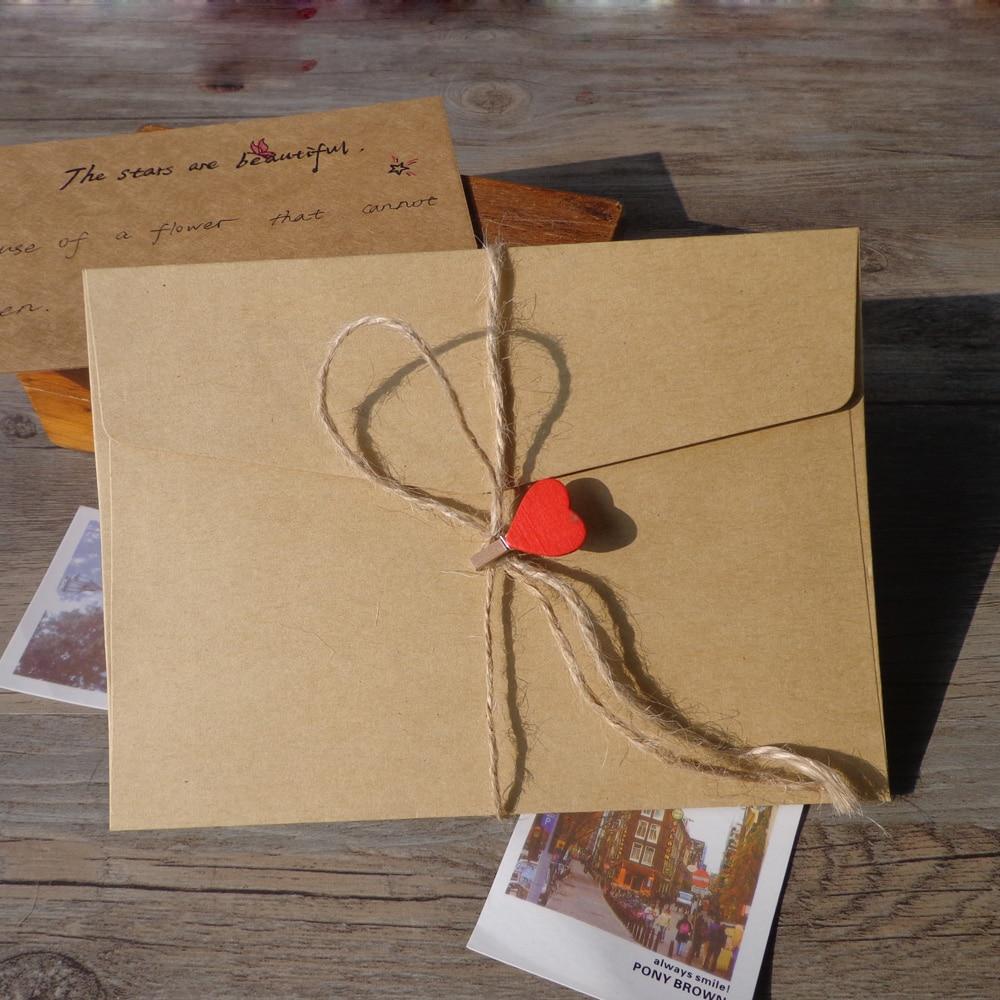 10pcs Thicken Kraft Envelope Stationery Blank Big Size Gift Card Envelopes Post Card Photo